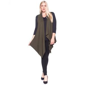 Sweaters - Olive Sleeveless Cardigan Duster Vest