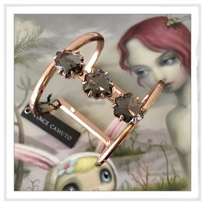 Vince Camuto Jewelry - Vince Camuto T-Bar Triple Stone Rose Gold Bracelet