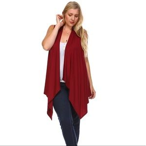 Sweaters - Burgundy Red Sleeveless Cardigan Duster Vest