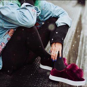 Sam Edelman Shoes - Sam Edelman Velvet Faux Fur Pom Pom Sneakers