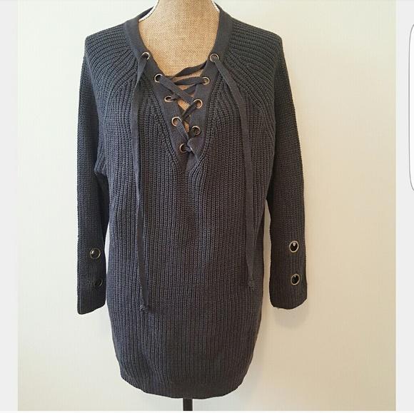 002ba3774e 🌹Miracle USA Lace Up Knit Sweater Tunic. M 5902a2dca88e7d3c48009735