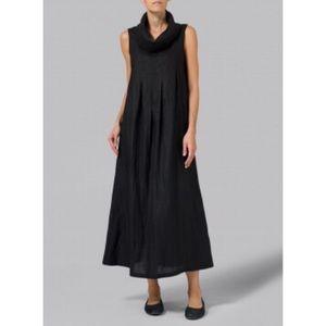 VIVID Linen Cowl Neck Long Dress