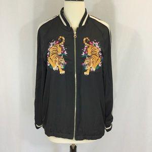 H&M satin tiger embroidered bomber jacket