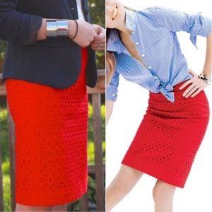 J. Crew No. 2 Pencil Skirt Ultra Eyelet chili red