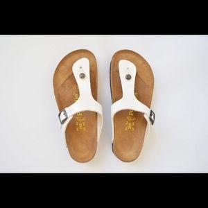 Birkenstock Papillo White Platform Gizeh Sandals