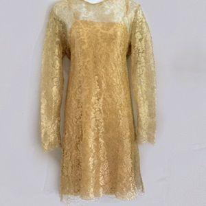 Oscar de la Renta Dresses & Skirts - Oscar by Oscar de la Renta gold silk/lace dress