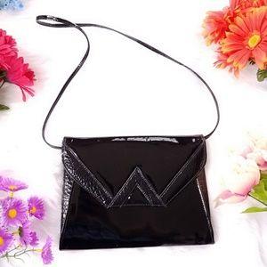 Vintage Handbags - Vintage black patent envelope bag crossbody