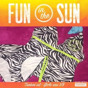 Pink Platinum Other - Girl's Zebra Print Tankini Set