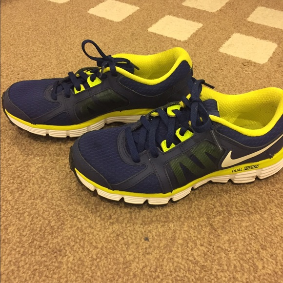 Mens Nike Dual Fusion ST 2 Running Shoes Blue Yellow,nike
