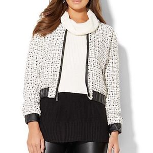 Tweed Bomber Jacket With Leather Trim