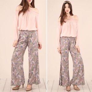 peach love california Pants - New! S-L Grey Floral Boho pants