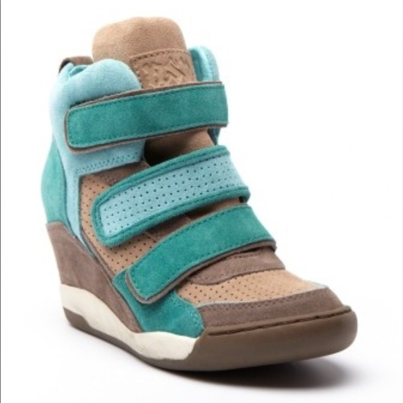 ASH Alex Suede Leather Wedge Sneakers Teal Taupe