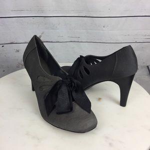 Ann Marino Shoes - Ann Marino Gray Pumps With Black Fabric Bow