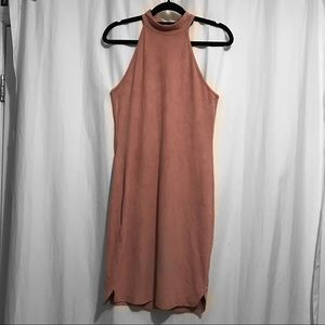 Dresses & Skirts - Pink Suede Halter Dress