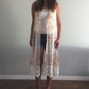Long Floral & Lace Vest