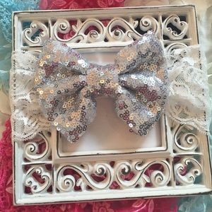 "Other - Girls Lace Headband with 4"" Silver Sequin Bow"