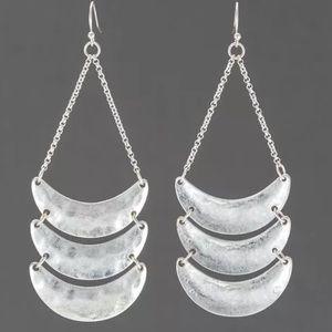 Pomina Jewelry - Bohemian silver hammered dangle drop earrings