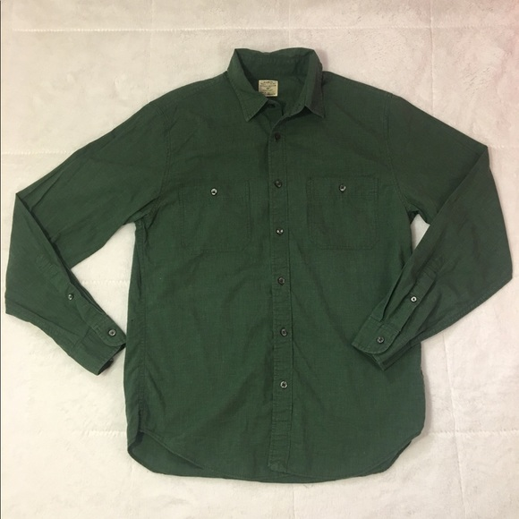 J crew j crew work shirt green long sleeve button down for Custom pattern button down shirts