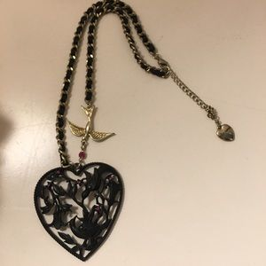 Betsey Johnson Jewelry - Betsey Johnson black hearted necklace