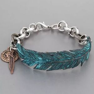 Patina Jewelry - Antique silver with patina finish feather bracelet