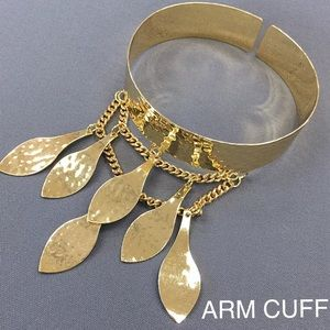 Jewelry - Bohemian style dangle drop double chain leaf cuff