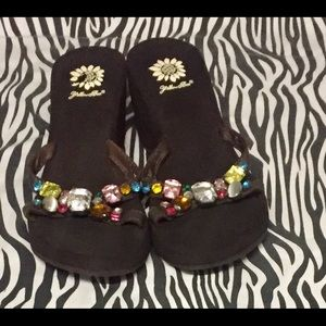 Yellow Box Shoes - Yellow Box Size 8 wedge leather Jeweled Sandals.