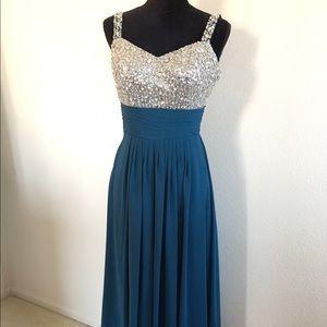Dresses & Skirts - sequin top shoulder strap Teal chiffon prom dress