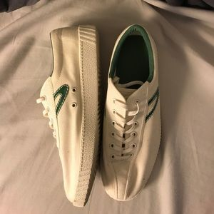 Tretorn Shoes - Cream and Green Tretorn Sneakers