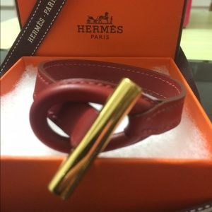 Hermes Jewelry - Authentic Hermes Toggle Leather Bracelet