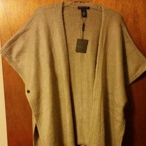 Do Everything in Love Sweaters - Impressions Taupe Fringe Poncho One Size