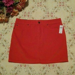 NWT! Gap Orange Corduroy Stretch Mini Skirt