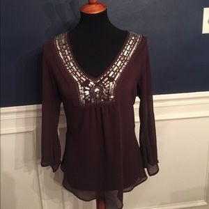 Ninety Dark Brown Sequin Sheer Top - Size Small