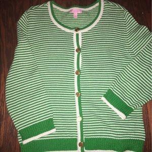 Lilly Pulitzer Sweaters - Lily Pulitzer Cardigan Sz L Green Stripe Sweater
