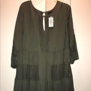 torrid Dresses & Skirts - Olive green peasant dress with lace detail