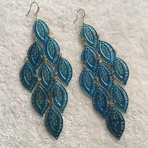 Amrita Singh Jewelry - Amrita Singh Selina Leafy Blue & Gold Earrings