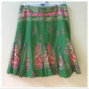 Anthro Green Pink Skirt