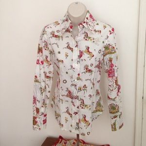 Barneys New York Tops - Carousel print cotton button-down fitted shirt