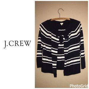 J. Crew Sweaters - J Crew stripe front tie cardigan - navy white