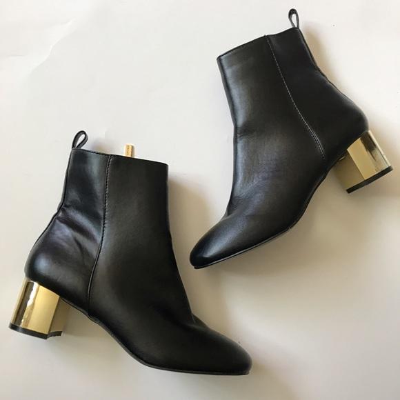 829b133d63e NEW TOPSHOP black gold heeled boots BELLA NWT