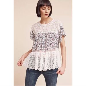 Anthropologie Tops - Blue Tassel S Blue White Floral Sara Lace Blouse