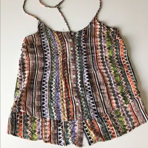 Tops - Tribal Pattern Tank with Braided Back