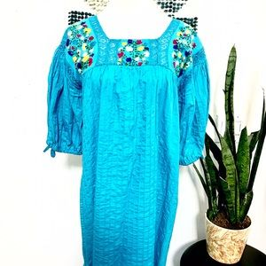 Vintage Dresses & Skirts - Authentic vintage Mexican embroidered dress
