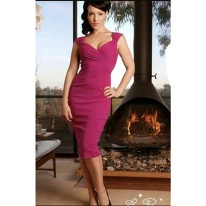 Pinup Girl Clothing Dresses & Skirts - Erin Wiggle Dress in Berry EUC