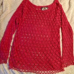 🌺B1G1🌺Coral crocheted long sleeved top
