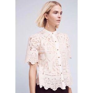 Anthropologie Tops - Floreat 4 White Cotton Sagesse Lace Buttondown