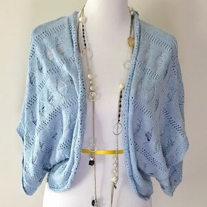 Matilda Jane Sweaters - Beautiful baby Blue Crochet Shrug by Matilda Jane