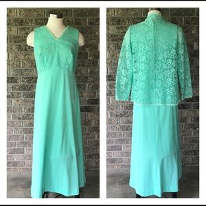Vintage Sea Green Maxi Dress and Lace Jacket