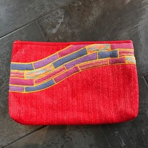 Beautiful Red Boho Vintage Large Clutch Purse