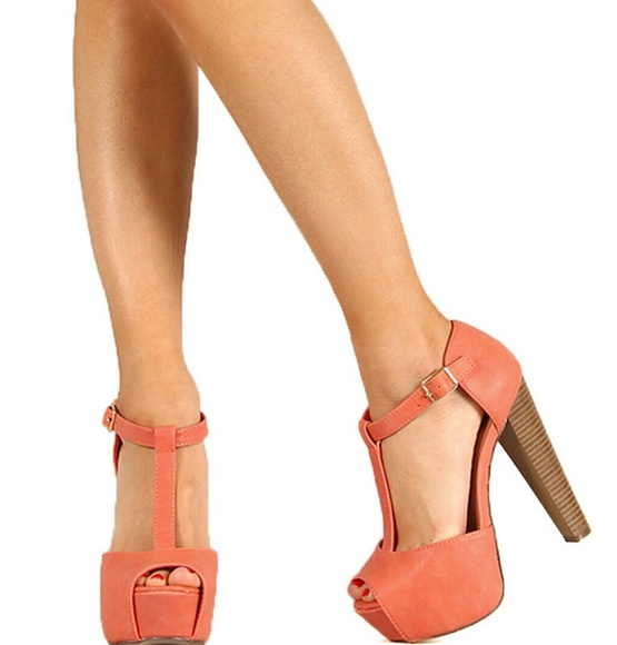 037caf3ab7b Breckelles Shoes - Breckelles Coral Peep Toe Chunky Heels