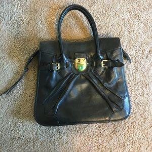 BCBGMaxAzria Handbags - 🆕 BCBGMaxAzria slim black work tote gold hardware